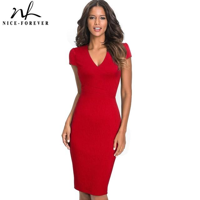 Nice-forever Vintage Elegant Solid Color Floral Wear to Work Jacquard vestidos Bodycon Office Business Sheath Women Dress B435