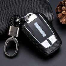 JIUWAN Carbon Fiber Pattern Soft Silicone Car Key Fob Case For All New Isuzu D-MAX MU-X 3.0/ X-series Smart Ring Cover