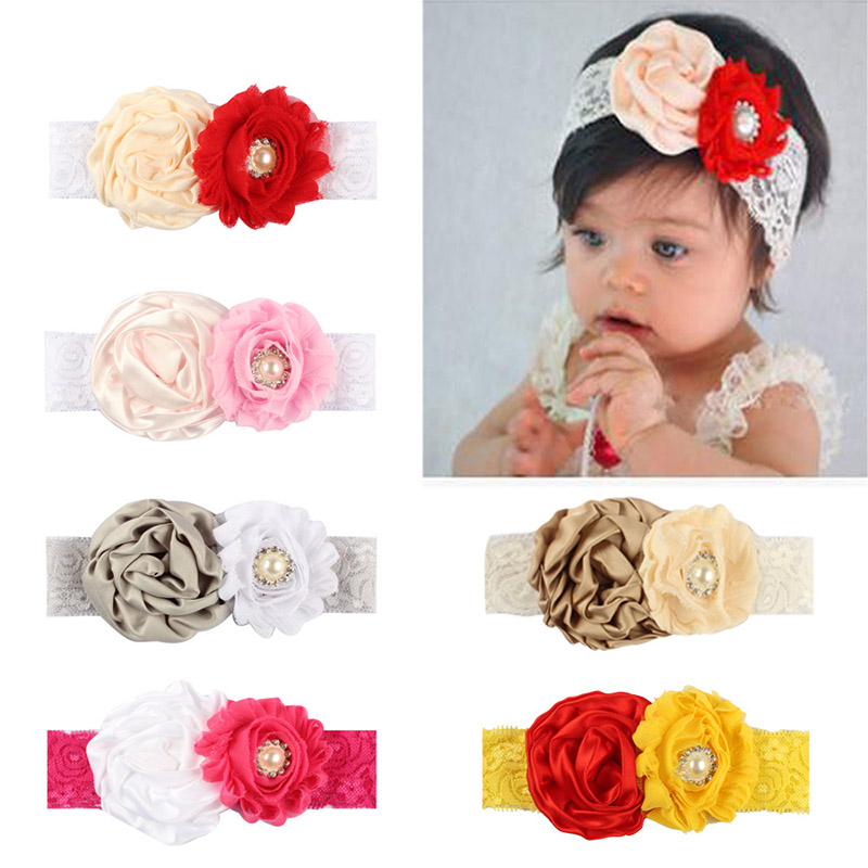 Fashion Lovely Girls Tow Flowers Lace Elastic Hairband Hair Wear Headwear Head Band Kids Hair Accessories ...