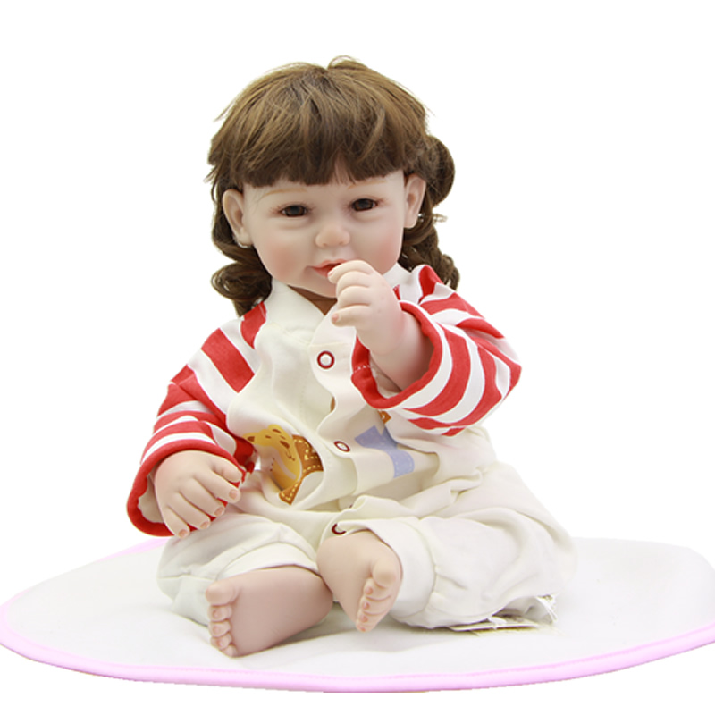 Handmade Cloth Body 20 Inch Baby Doll Reborn Silicone Vinyl Realistic Girl Babies With Romper Brown Eyes Kids Birthday Xmas Gift