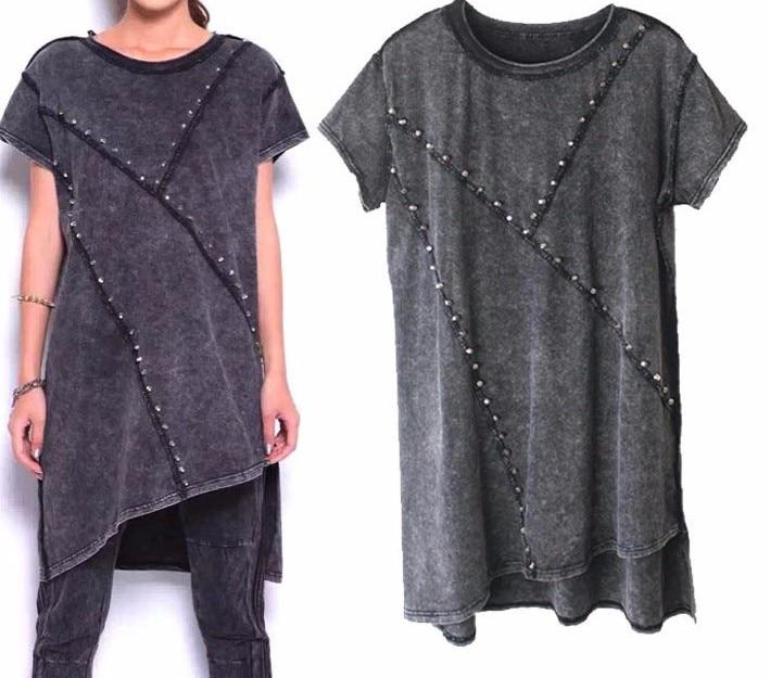 Модные женские топы с заклепками, женские футболки, женские футболки в стиле панк, длинные женские футболки, женская одежда - Цвет: Темно-серый