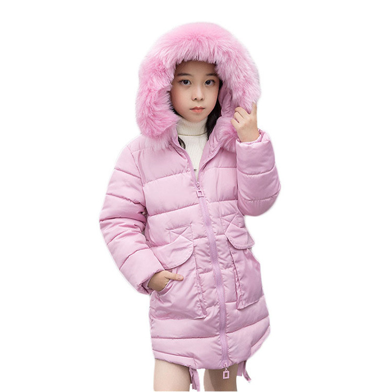 Winter Children Outerwear Big Girls Long Down Cotton Coats Kids Warm Thick Jackets Teenage Baby Faux Fur Collar Hooded Coat G165 2017new down parka winter jacket women cotton padded thick ultra light long coat faux fur collar hooded female jackets for woman page 1