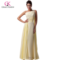 Free Shipping Grace Karin 2014 Light Yellow One Shoulder Chiffon Party Formal Long Ball Gown Evening