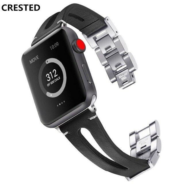 8b5cd449dbc6 Puerto correa de cuero para Apple Watch 4 banda 44mm 40mm iwatch Banda 3 2  1 42mm 38mm pulsera con cierre acero inoxidable