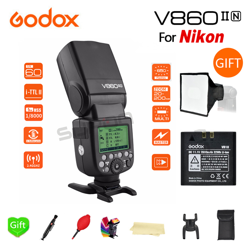 Paypal Accpect, Godox V860II-N I-TTL GN60 2.4G High-Speed Sync 1/8000s Li-ion Battery for Nikon DSLR Cameras + 15x17cm Softbox meike mk d750 battery grip pack for nikon d750 dslr camera replacement mb d16 as en el15 battery