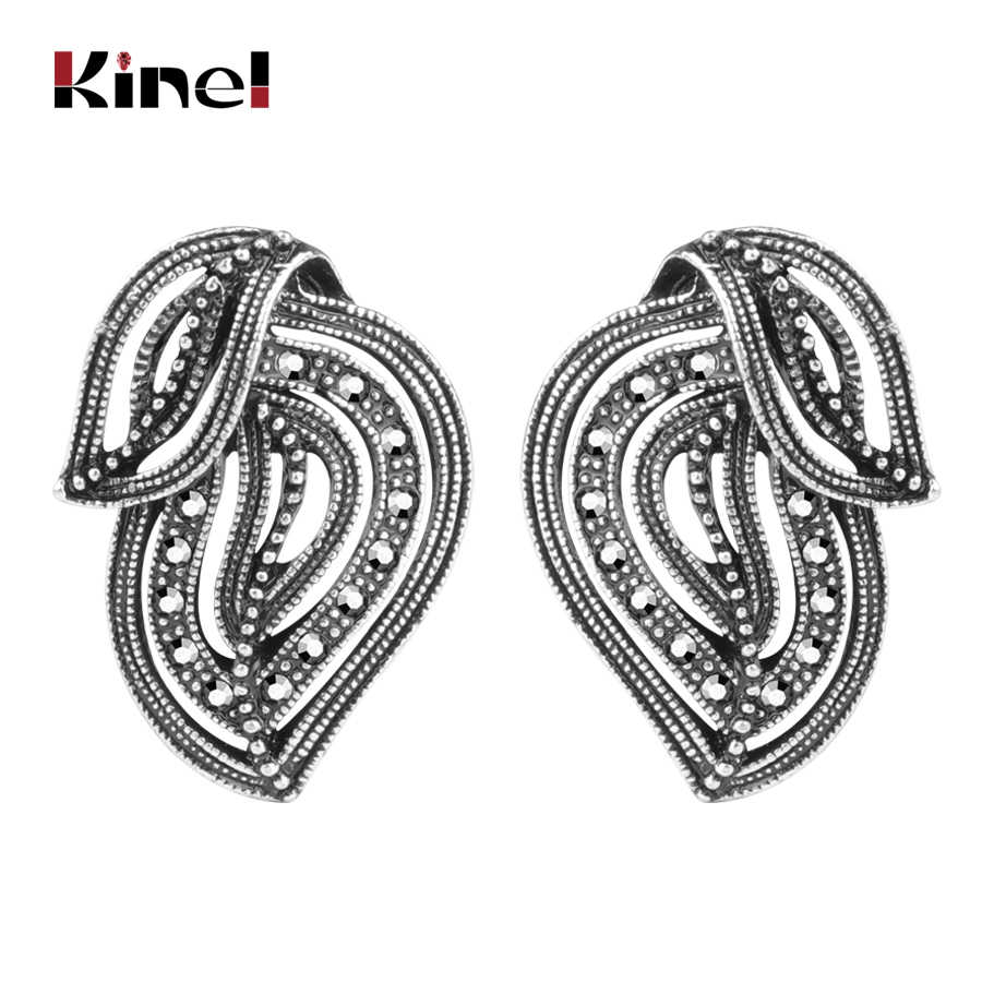 Kinel New Vintage Silver Color Big Stud Earring For Women Retro Rhinestone Stack Earrings Punk Female Party Jewelry Wholesale