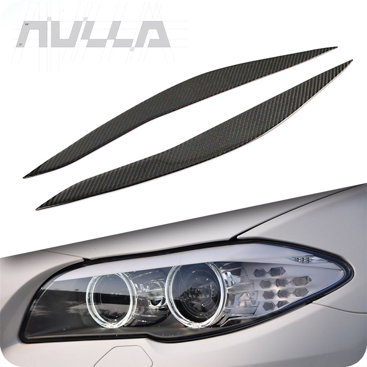 Carbon Fiber Headlights Eyebrows Eyelids Trim For BMW F10 5 Series 2010-2016 Cover Decoration Front Headlamp accessorie стоимость