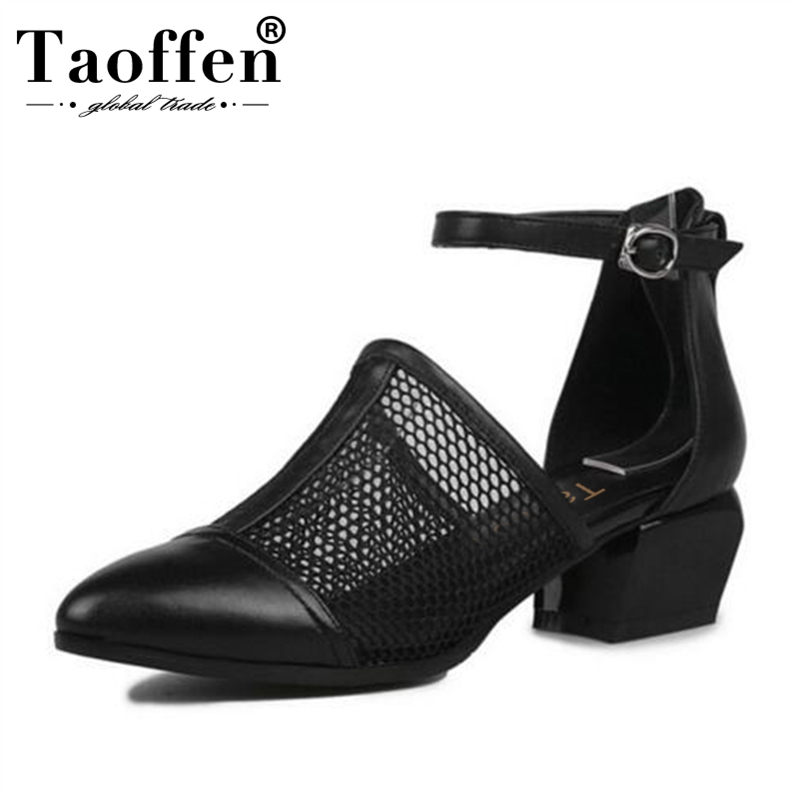 TAOFFEN Brand New Size 34 40 Genuine Leather Black Women Shoes Fashion Woman Sandals Nature Cow