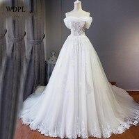 Romântico 2018 Vestido de Noiva Longo de Uma Linha Até O Chão Sem Mangas Vestidos De Noiva Apliques Vestidos de Casamento Tulle Custom Made