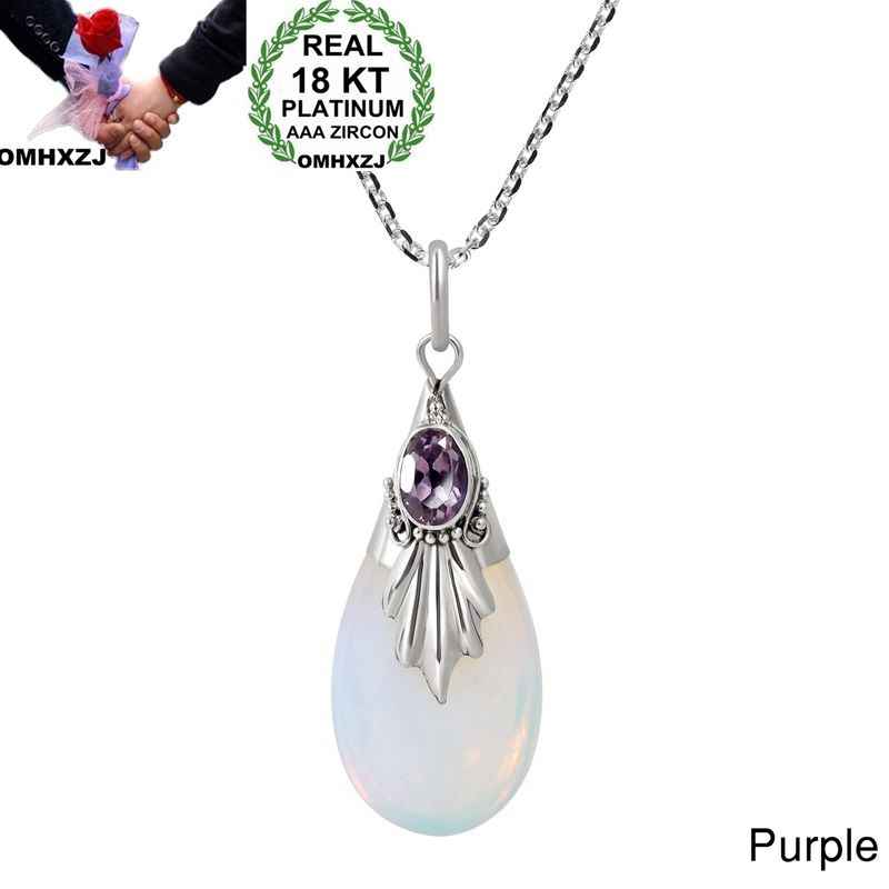 OMHXZJ Wholesale European Fashion Woman Girl Party Gift Water Drop Moonstone AAA Zircon 18KT White Gold Pendant Necklace NA01