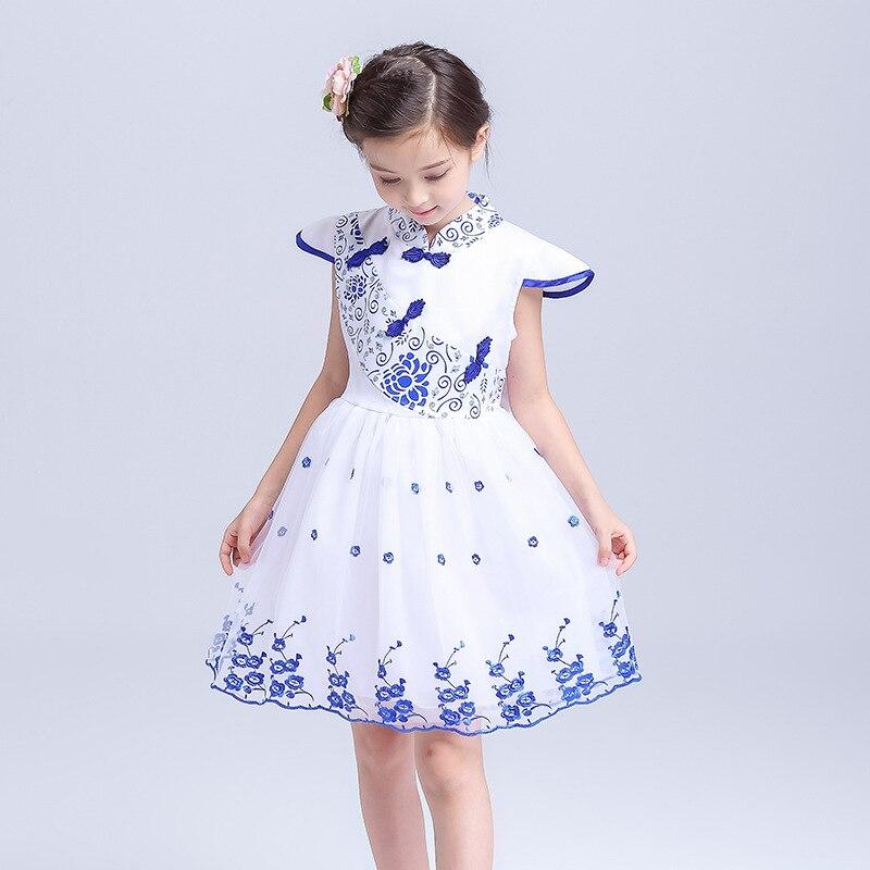ФОТО lvanita new style blue and white china girls dress, grace flower princess girl party tutu dress, one piece dress free shipping