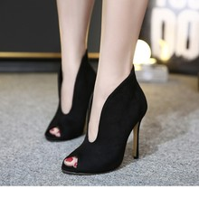 Pre Spring Fall V Style Suede High Heel Pumps Women Peep Toe Sexy Ankle Boots Sandals All Match Brand New Shoes Woman Stilettos