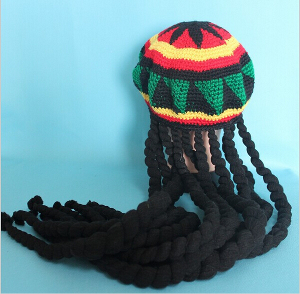 Jamaican Bob Marley Rasta Beanie Hat Fancy Cap weed reggae braids African  Hair wraps Braiding 4e19af51432