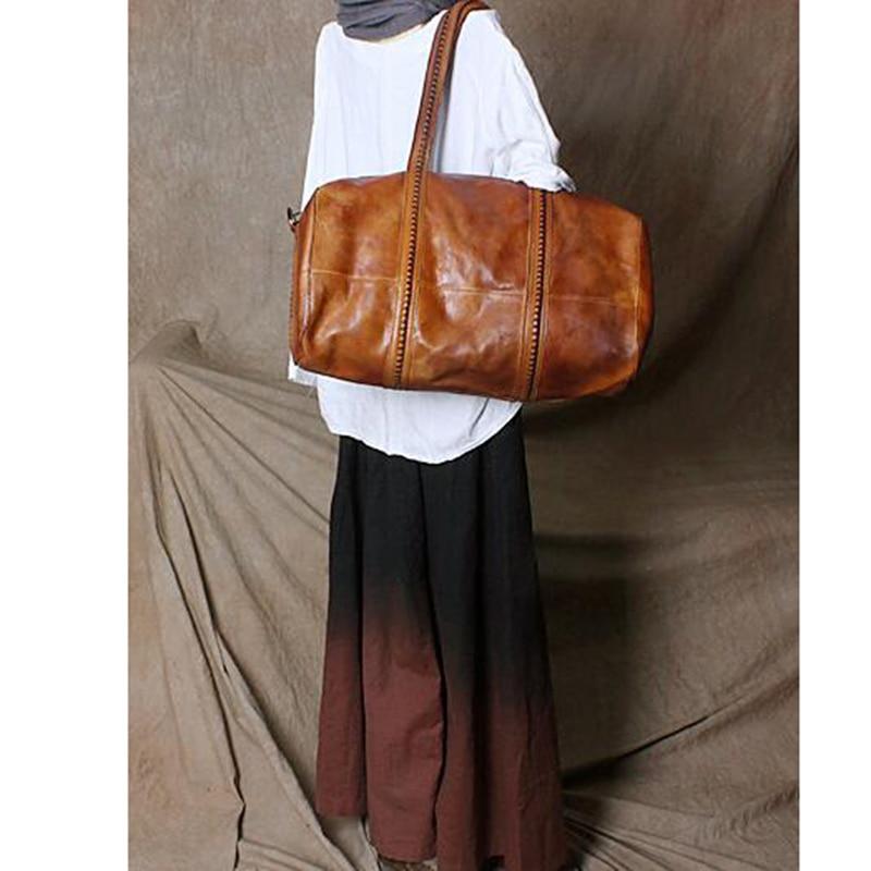 Fashion Leather Travel Shoulder Bag Large Weekend Duffel Top Quality Woman Handbag Genuine Leather Business Popular Design Bags
