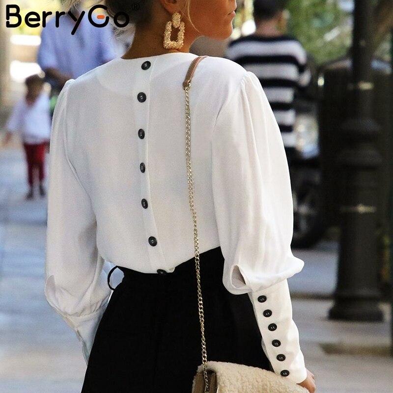 BerryGo Puff sleeve women blouse shirt Button white v neck tops spring 2019 Elegant office lady streetwear blusas women shirts белая рубашка с объемными рукавами и вырезом