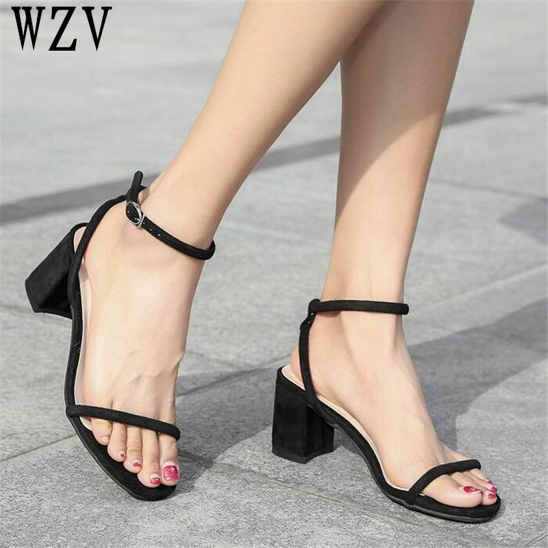 Summer Women Sandals Open Toe Flip Flops Thin tape Womens Sandles Thick Heel Women Shoes Korean Style Gladiator Shoes woman C74