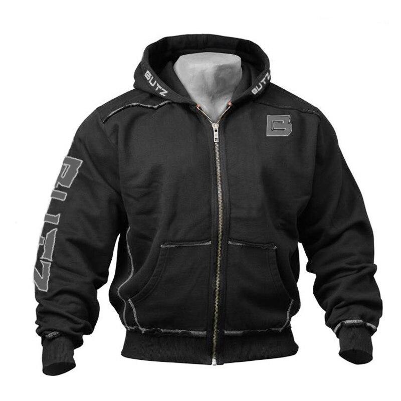 Winter Cotton Sweatshirt Gray Black Big Pocket Hoodie Zipper Men Bodybuilding Gym Sweatshirt For Men Long Sleeve Hoodies Coat