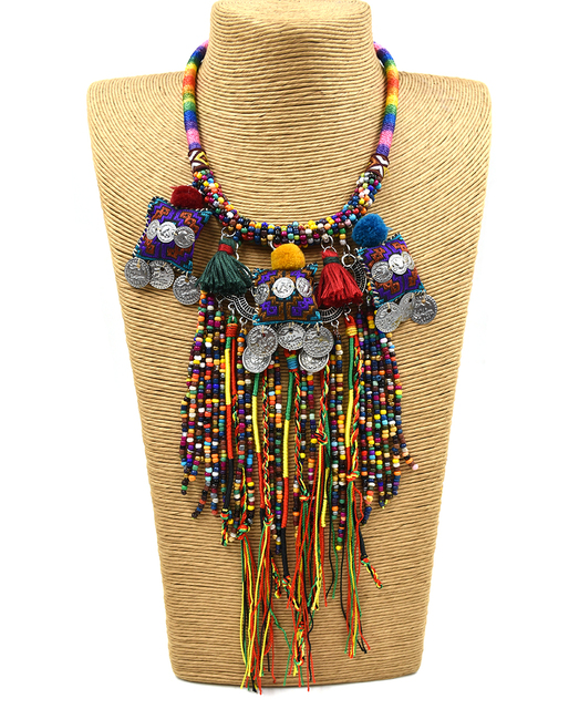 clothing accessories Bohemian boho ethnic beaded tassel choker Necklace handmade colorful beads long fringe Pendants Necklace