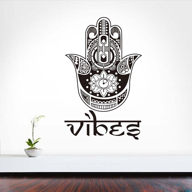 Dctop Pray For Health Symbol Lotus Eye Hamsa Hand Wall Sticker Home Decor Vinyl Removable Bedroom Adhesive Decals High Quality In Wall Stickers From