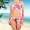 New Year Gift Women Bikinis 2016 Summer 79%nylon 21% elastan 5/8 Cup Bralette and Sexy Pink Print Ladies Underwear Free shipping