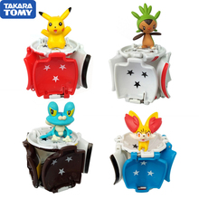 1Pcs Takara Tomy Pokemon Pikachu pokemon ball + 1pcs Free Tiny Random Figures Inside Action Figures