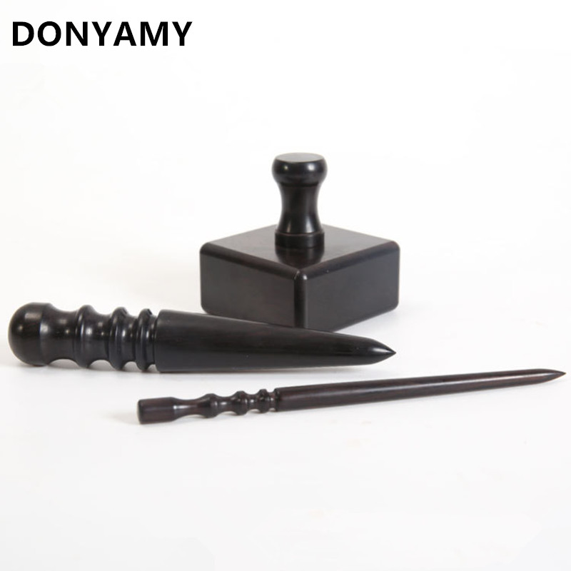 DONYAMY Leathercraft Tool Wood Edge Slicker Hand Craft Tools 3 Type for Choose Leather Polished Grinding Set