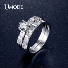 UMODE Rhodium plated Engagement Ring Sets For Women AAA CZ  Paved Bridal Sets Wedding Fashion Jewelry 2016 New AUR0349