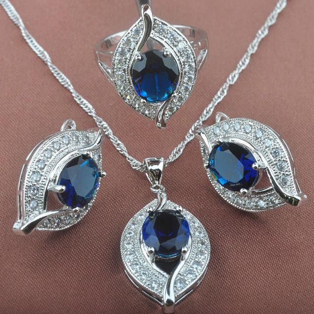 d8d246565 Eye Design Blue Stone Zircon Women's 925 Sterling Silver Jewelry Sets  Necklace Pendant Clip Earrings Rings