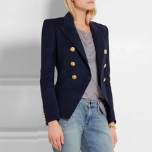 الأزرق الداكن المرأة بليزر الخريف مكتب الأزرق السترة معطف المرأة عادية مزدوجة الصدر أزرار معدنية المرأة السترة جاكيتات