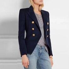 Dark Blue Frauen Blazer Herbst Büro Blau Blazer Frauen Mantel Casual Zweireiher Metall Tasten frauen blazer Jacken
