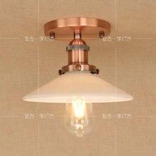 Lámpara de techo LED americana Vintage de bronce rojo para comedor, balcón, hierro, vidrio, restaurante, dormitorio, lámpara de techo para salón RCL0016