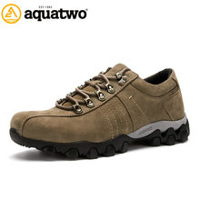 High Quality 2016 New Design AQUA TWO Genuine Leather Shoes Men Lace Up Flats Winter US5.5-10# Trekking Walking Outdoor Shoes