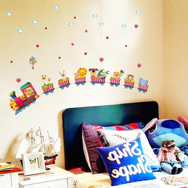 Мультфильм поезд детский сад настенные украшения обои наклейки детская спальня детская комната настенные наклейки