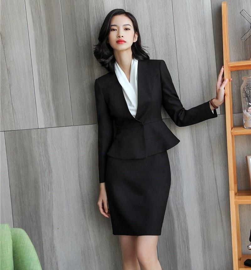 Mode Vrouwen Rok Past Witte Blazer en Jas Sets Fashion Dames Pakken Office Uniform Styles-in Rok Pak van Dames Kleding op  Groep 2