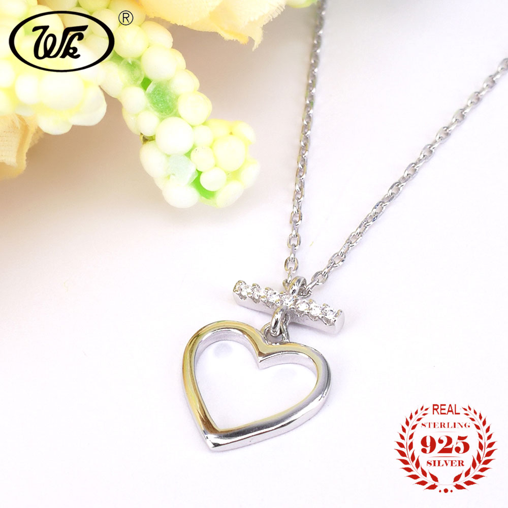 608c5b889e3 WK Beautiful Love Heart Pendant Silver Necklace For Women Ladies Elegant  Charm Jewelry Gift Link Chain Collares SW 925 NB019-in Necklaces from  Jewelry ...