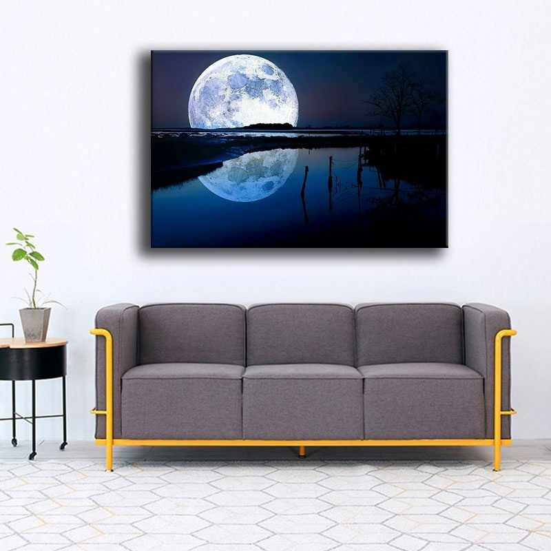 In Full Moon Night And Tree Blue Lake Reflection Painting Modern Artwork Home Decor Wall 1 Panel Canvas Print Landscape Picture
