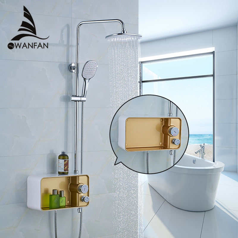 Shower Faucet Brass Chrome Wall Mounted Bathtub Faucet Rain Shower Head Square Handheld Slid Bar Bathroom Mixer Tap Set WF-58801 thermostatic bathroom shower faucet solid brass bathtub mixer tap chrome finish wall mounted
