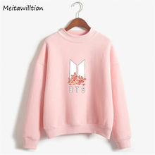BTS Kpop Women Hoodies Sweatshirts Korean Fashion Hip Hop Fleece Pullovers Tops 2018 Plus Size O-Neck Harajuku Tracksuit(China)