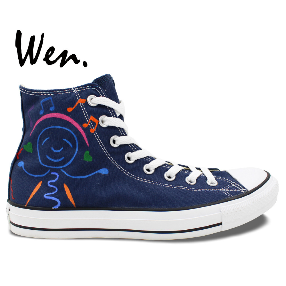 Wen Original Hand Painted Shoes Design Custom Cartoon Music Guitar Smiling Face Men Women's Dark Blue High Top Canvas Sneakers