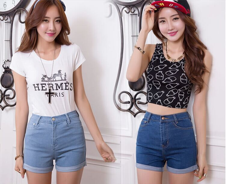 Free Shipping Summer High Waist Casual Women Jean Shorts