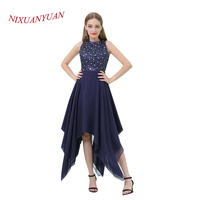 NIXUANYUAN 2018 New O Neck Navy Blue Chiffon Short Prom Dress 2017 Elegant Beaded Party Dress