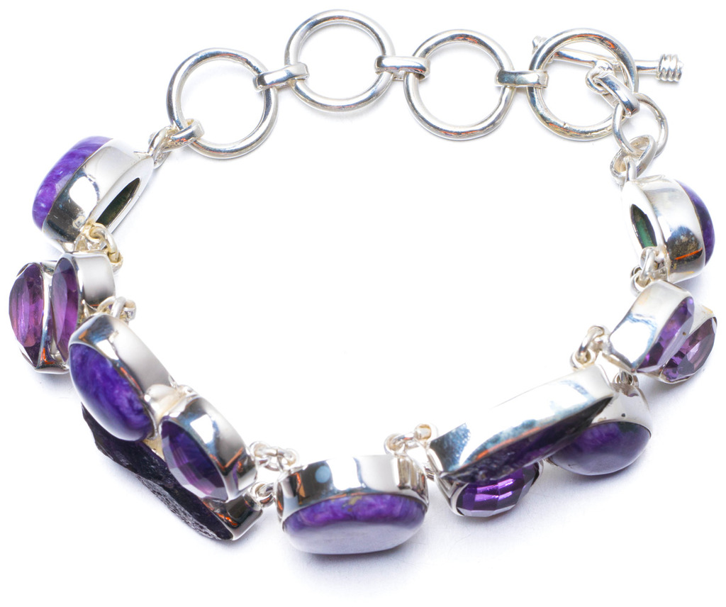 Natural Charoite,Rare Cluster Amethyst and Amethyst Handmade 925 Sterling Silver Bracelet 6-7 1/2 Y0830 free shipping main board for brother mfc 290c mfc 290 mfc 290 290c formatter board mainboard on sale