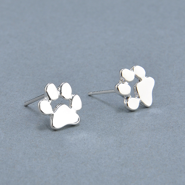 Cute Cat and Dog Pow Stud Earrings Ear Jewelry Earrings For Women Fashion Statement Jewelry Gifts Free shipping 1