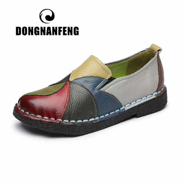 DONGNANFENG femmes dames femmes chaussures appartements mère chaussures vache en cuir véritable mocassins coloré Non sans lacet Designer 35-42 OL-2098