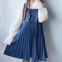 الصيف اليابانية لطيف الأزياء الغزال السباغيتي حزام فستان المرأة شقيقة لينة لوليتا نمط فساتين الشيفون مع مطوي