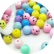 50/30pcs/lot 10/12mm Cheap Hot Beads Sale Smiling Face Mix Color Plastic Acrylic Round Ball Spacer Beads for DIY Jewelry Making(China)