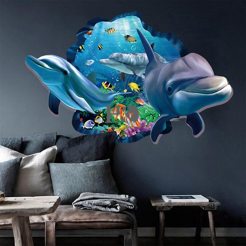 PVC Delphin Meer Szenen Fenster ansicht Abnehmbare Wandaufkleber 3D ...
