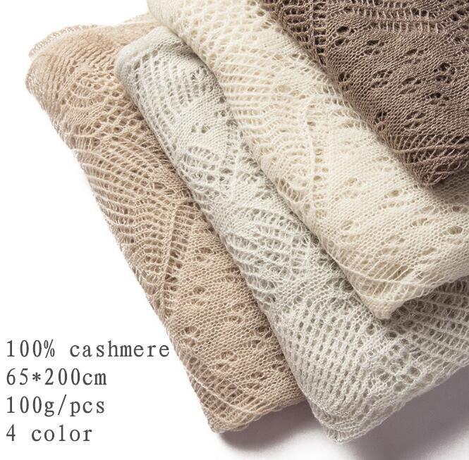 Naizaiga 100% Cashmere Hollow Out Knitting Winter Scarf Spring Summer Thin Shawl Ladies Fashion Brand Pashmina ,YR114