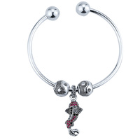 Handmade Crystal Red Fish Charms Ying Yang Beads Bracelet European Diy Opening Silver Bangle Women Diy