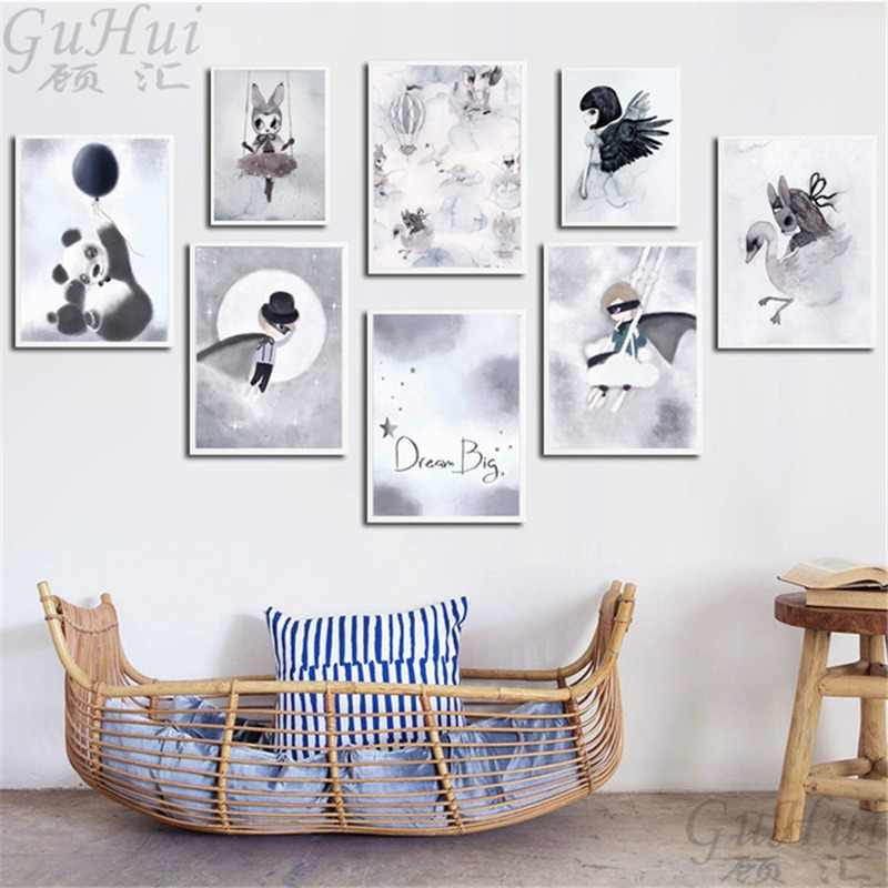 Nordic Watercolor Cartoon Mask Cloak Boy Angel Rabbit Girl Canvas Painting Poster Panda Wall Pictures Kids Room Home Decoration